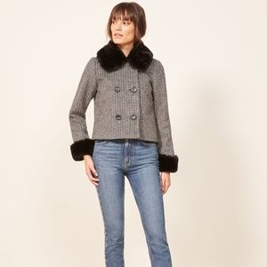 NWT Reformation Templeton Black Houndstooth Coat M
